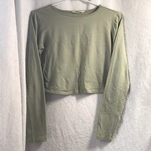 Light green cropped long sleeve top